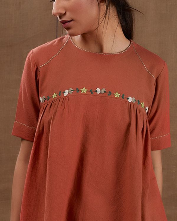 Rusty floral embroidered top with pants - set of two 3