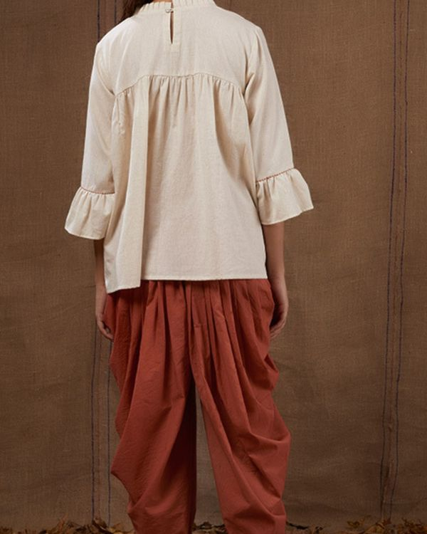 Rust cotton dhoti pants 2