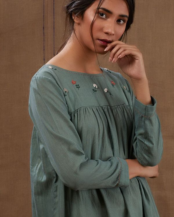 Cyan floral green embroidered dress 2