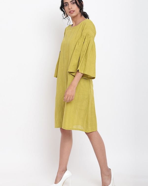 Green cotton gathered sleeve dress 1
