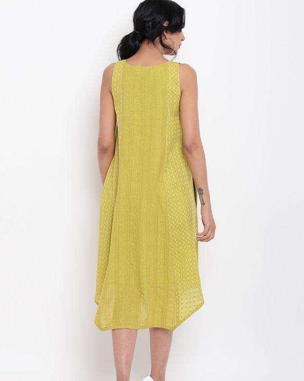 Green cotton panelled dress 2