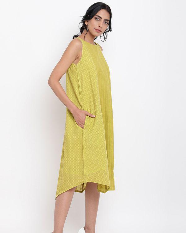 Green cotton panelled dress 1