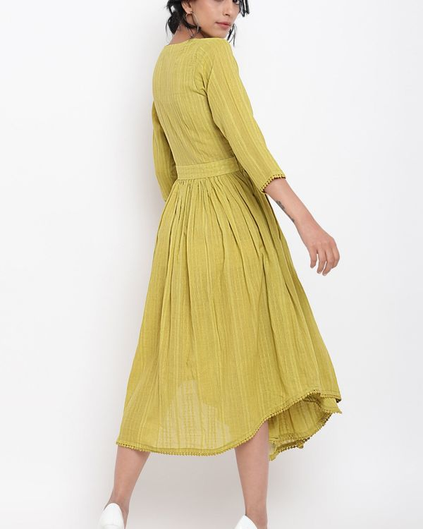 Green cotton overlap flare dress 1