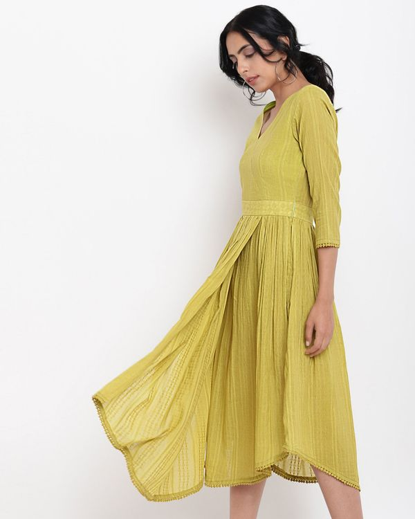 Green cotton overlap flare dress 2
