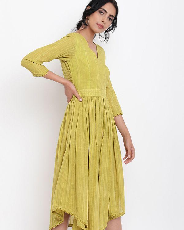 Green cotton overlap flare dress 3