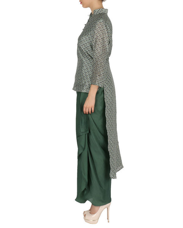 Kurta with dhoti set in grey and  green 1