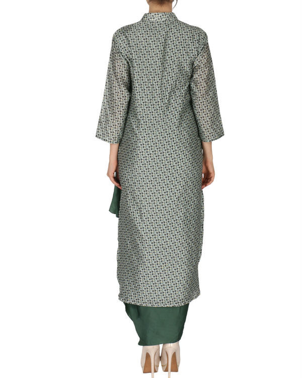 Kurta with dhoti set in grey and  green 2