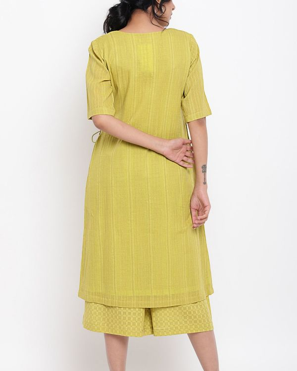 Green cotton angrakha kurta set - set of two 3
