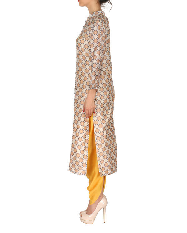 Kurta with patiala set in beige and yellow 1