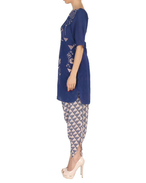 Kurta with patiala set in blue and peach 1