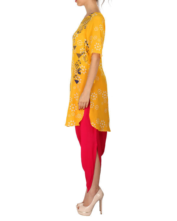 Kurta with patiala set in yellow and red 1