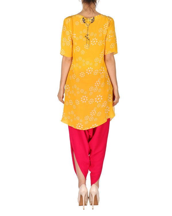 Kurta with patiala set in yellow and red 2