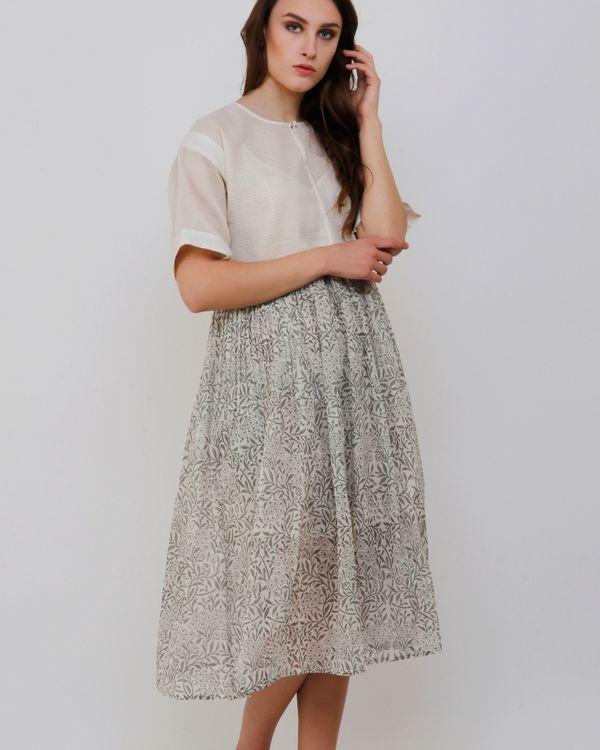 Handblock printed grey dress 1