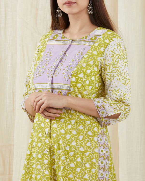 Green colored kurta set - set of three 2