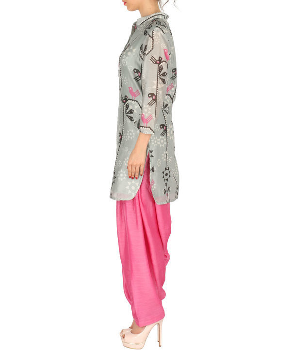 Kurta with patiala set in grey and pink 1