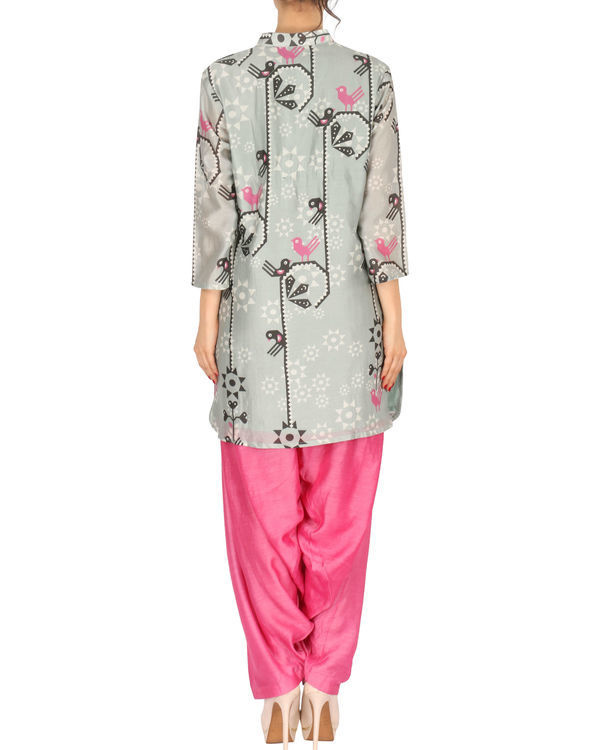 Kurta with patiala set in grey and pink 2
