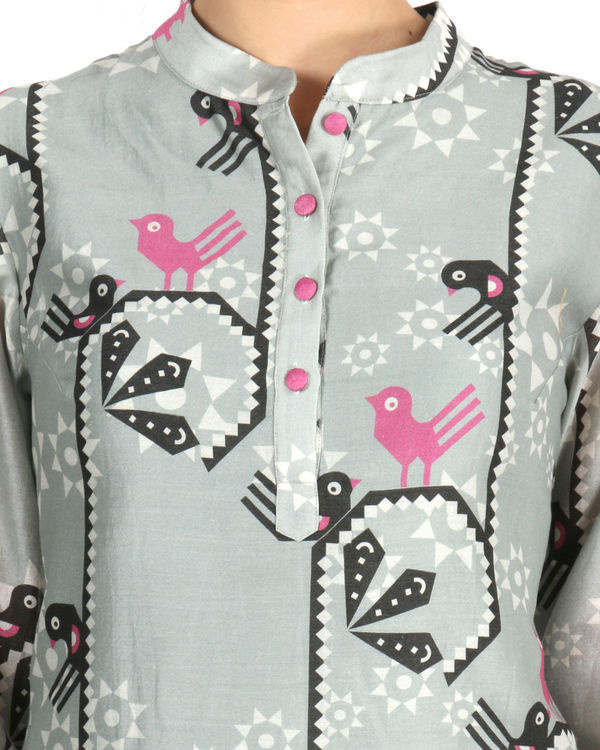 Kurta with patiala set in grey and pink 3