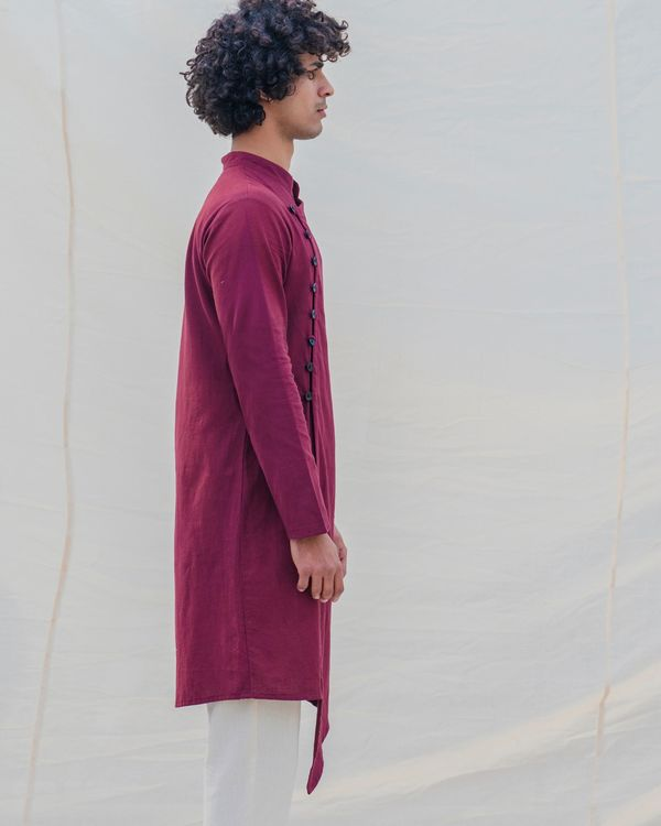 Maroon side buttoned kurta 3