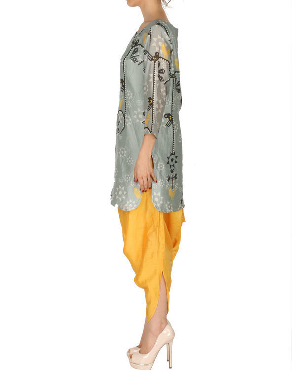 Kurti with patiala in grey and yellow 1