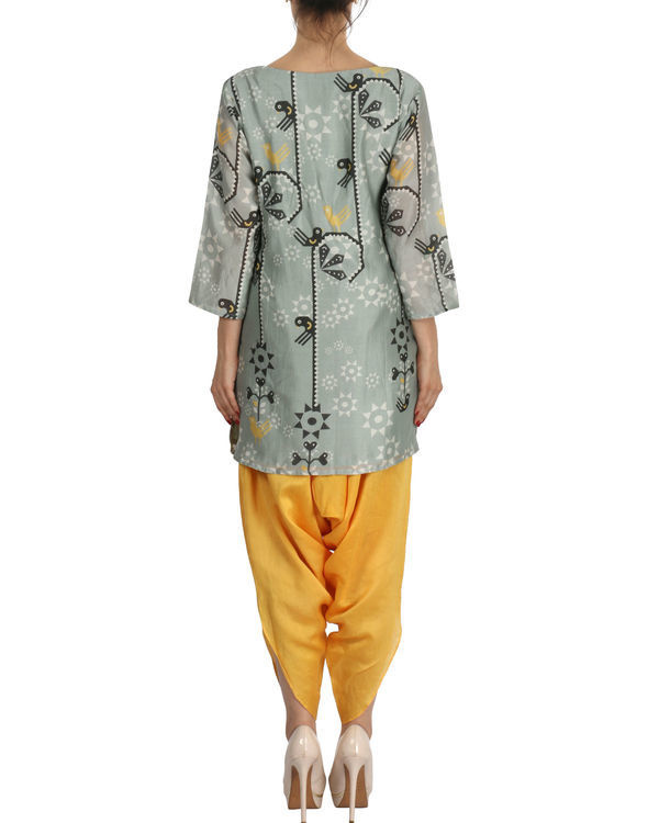 Kurti with patiala in grey and yellow 2