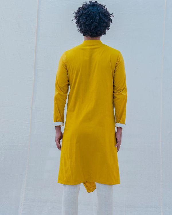 Yellow and white draped kurta 1