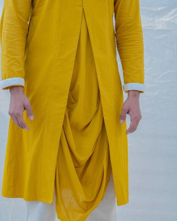 Yellow and white draped kurta 2