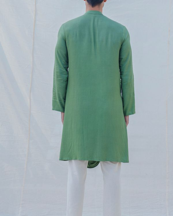Green draped kurta 1