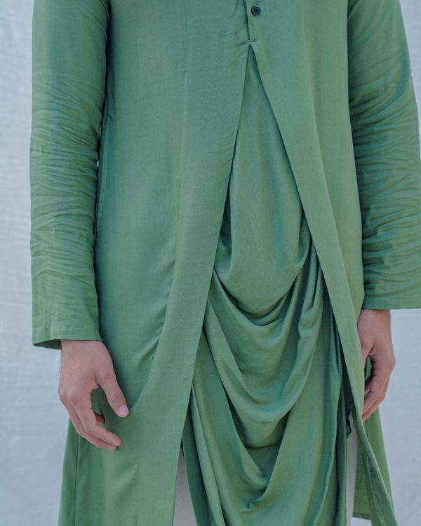 Green draped kurta 2