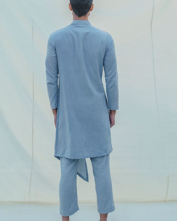 Sky blue front slit kurta 1