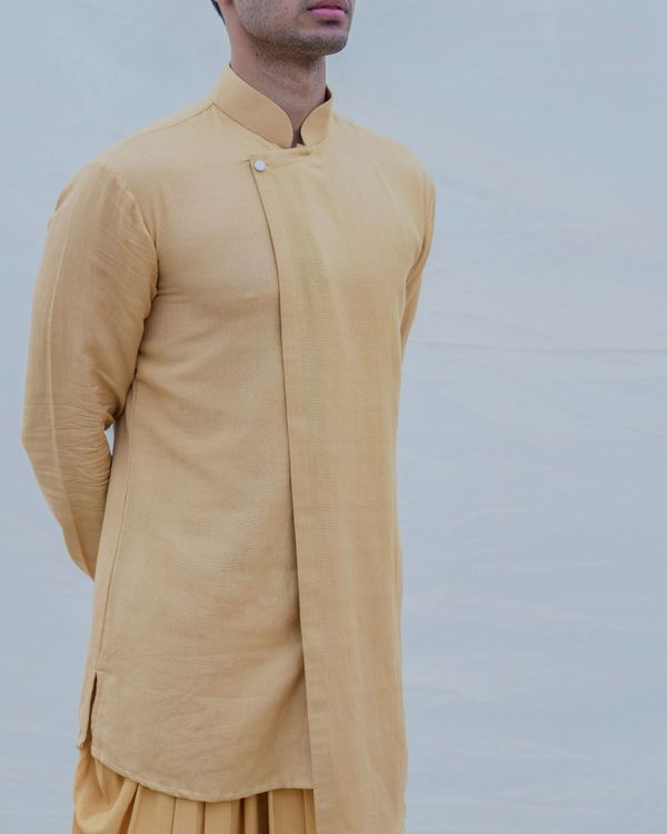 Beige gold cotton linen kurta 2