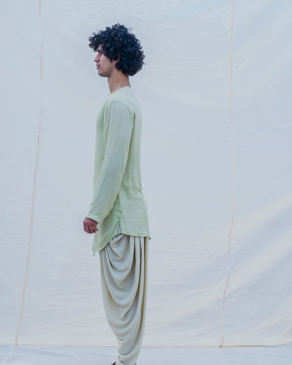 Pista green short kurta 3
