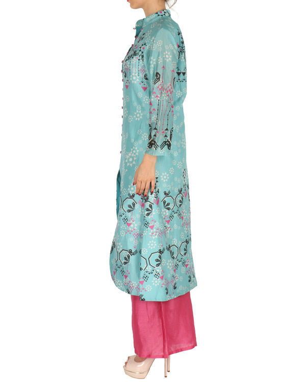 Kurta with palazzo set in ice blue and pink 1
