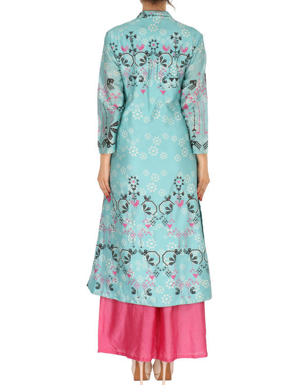 Kurta with palazzo set in ice blue and pink 2