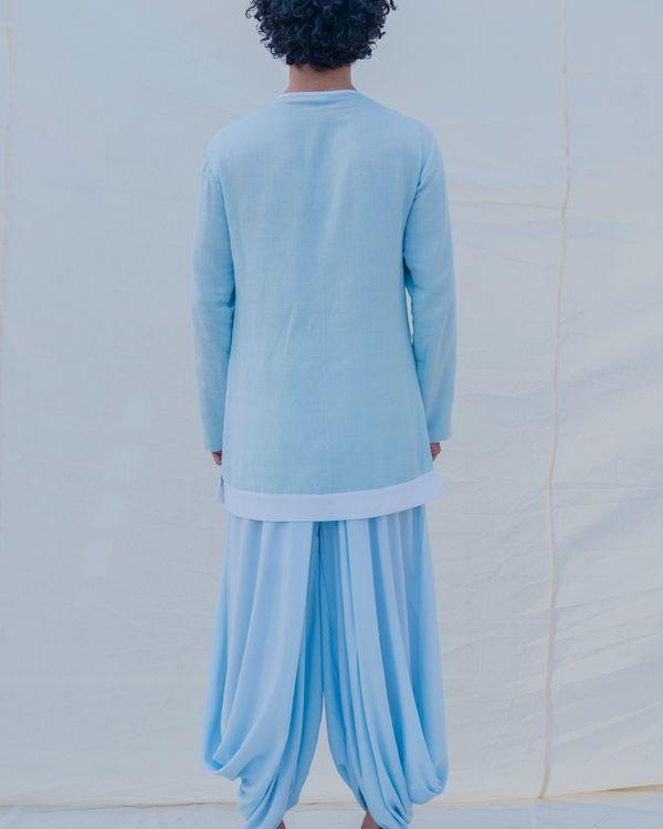 Aqua blue and white kurta 1