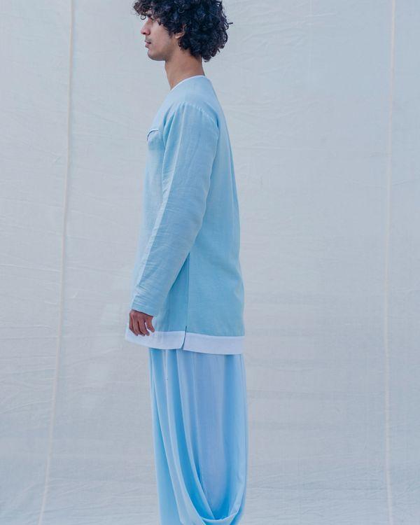 Aqua blue and white kurta 2