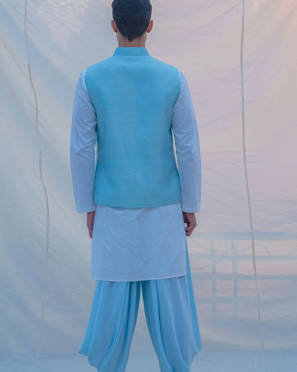 Aqua blue waist coat 1