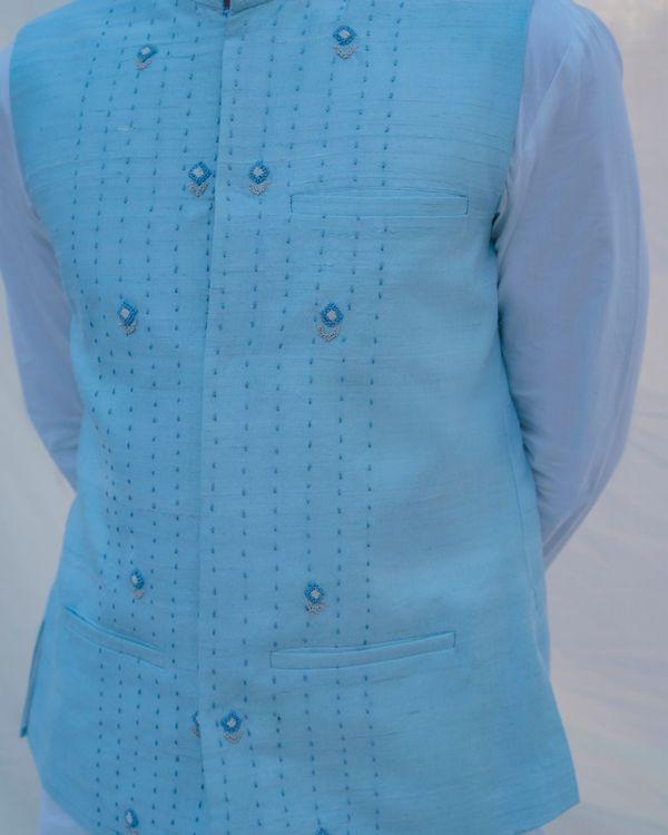 Aqua blue waist coat 2