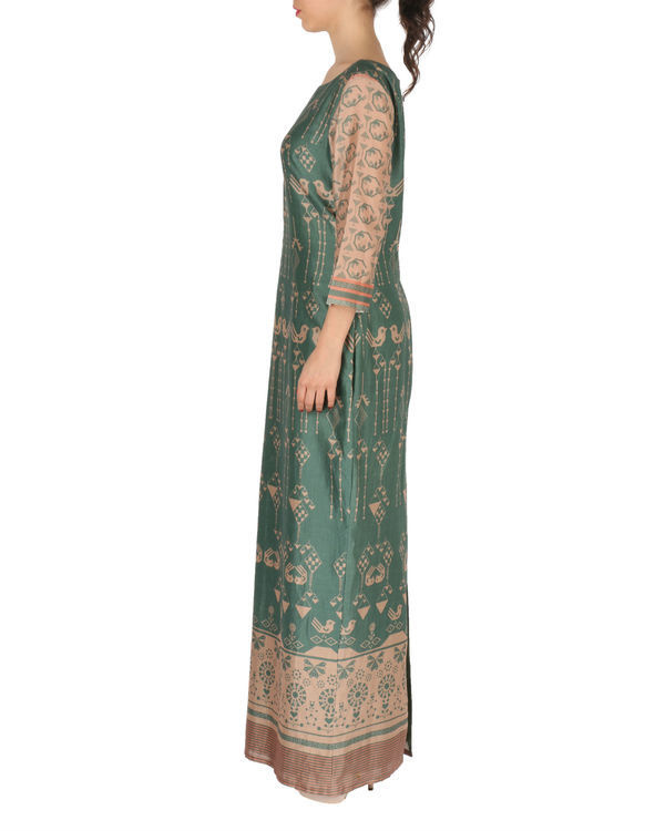 Long dress in green and beige 1