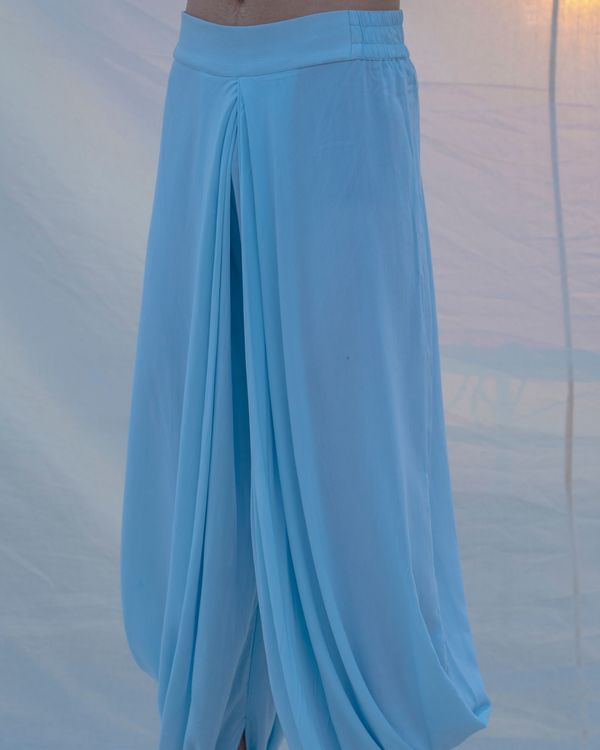 Aqua blue cotton dhoti 1