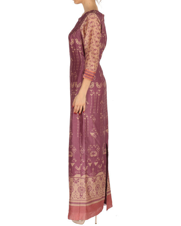 Long dress in marsala and beige 1