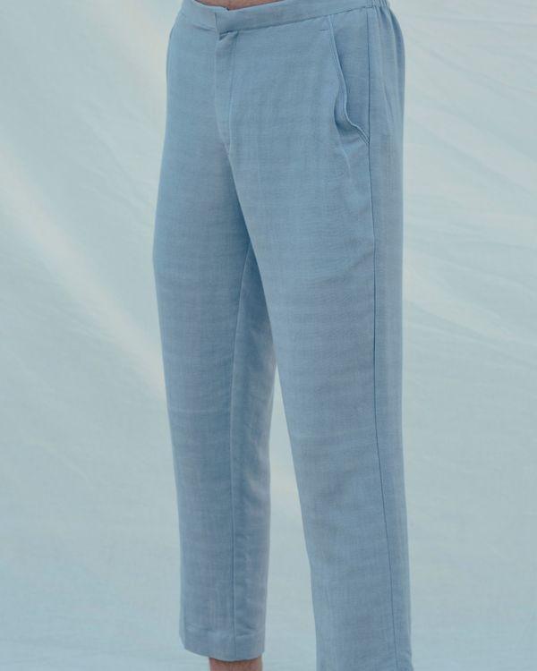 Light blue cotton linen pants 2