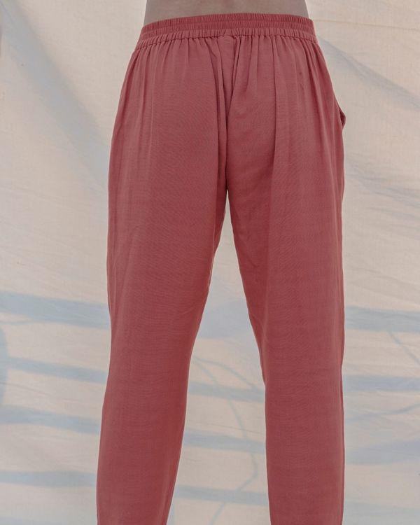 Coral cotton linen pants 1