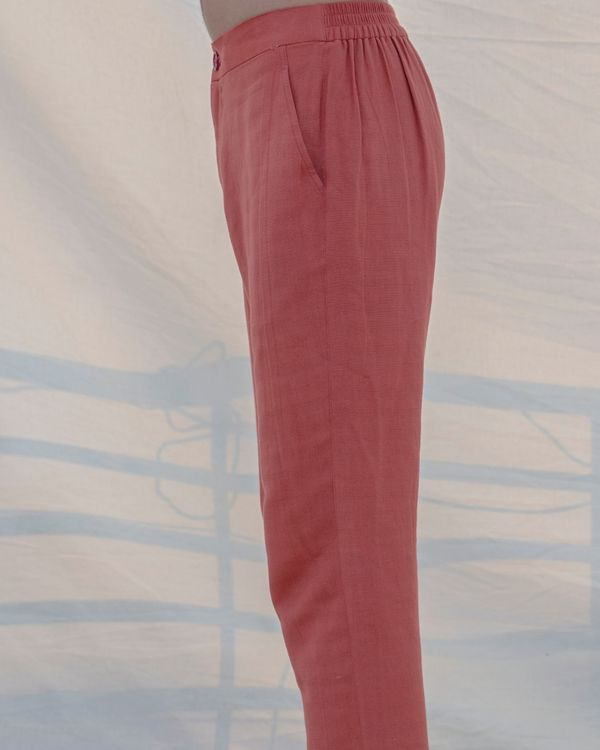 Coral cotton linen pants 2