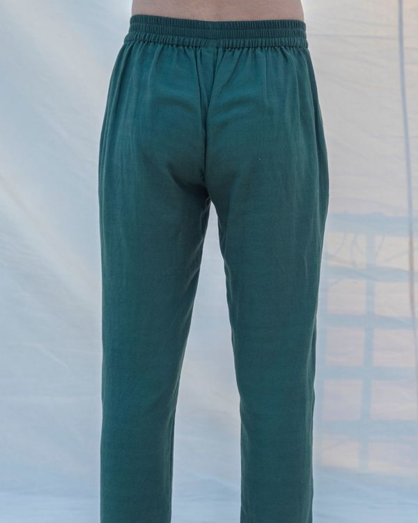 Bottle green cotton linen pants 1