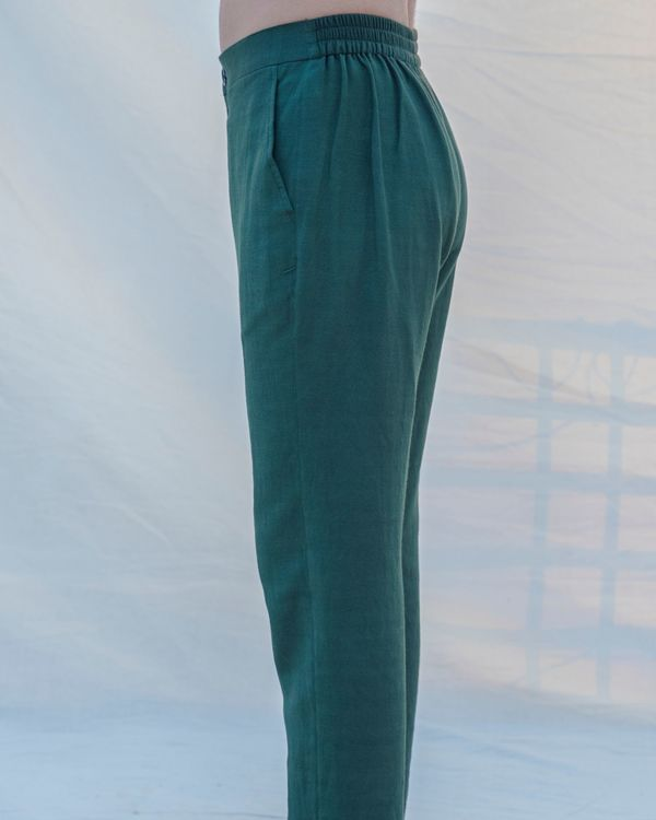 Bottle green cotton linen pants 2