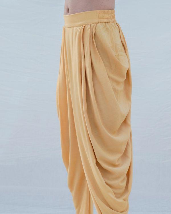 Beige gold cotton linen pants 1
