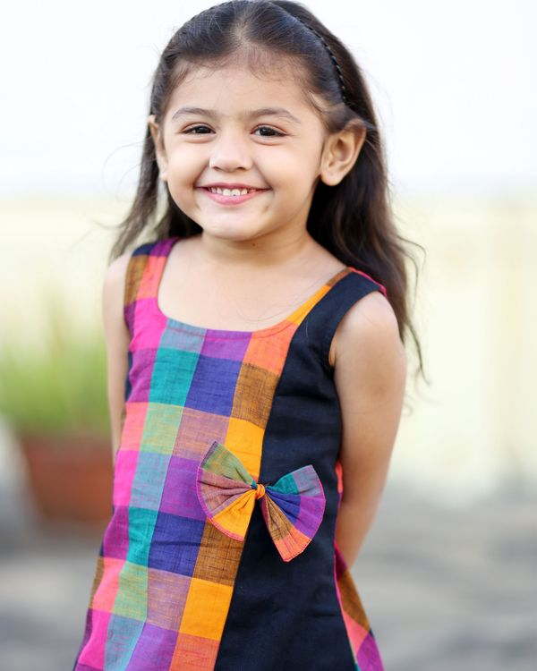 Multi colored checkered dress with bow 1