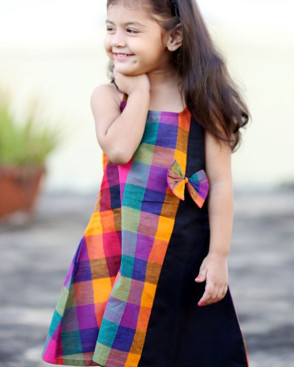 Multi colored checkered dress with bow 2