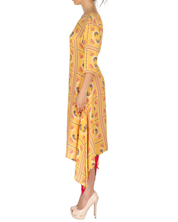 Kurta with patiala in yellow and red 1