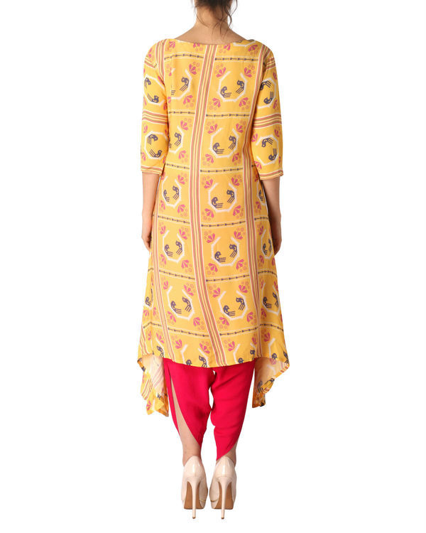 Kurta with patiala in yellow and red 2